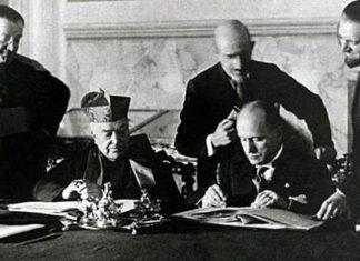 Mussolini e il cardinale Gasparri firmano i Patti Lateranensi