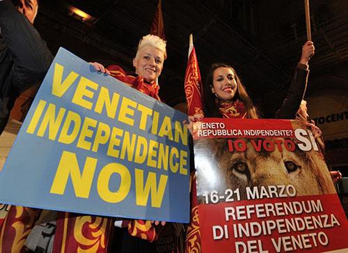 Veneto indipendente in piazza a Treviso