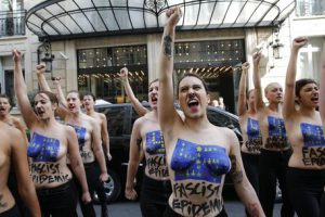 Femen activists protest in Paris