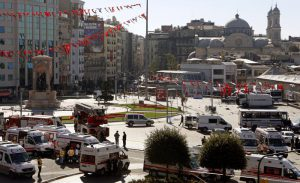 A suicide bomber attack to police checkpoint in downtown Istanbul