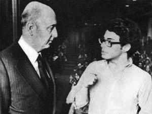 Napolitano risponde alle domande di uno studente di Harvard, durante una delle conferenze tenute nelle università statunitensi nel 1978