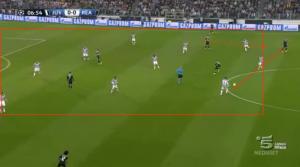 Immagine 2. Blocco compatto dietro la linea della palla.  Pressione di Sturaro su Sergio Ramos che sbaglia e consegna palla a Morata