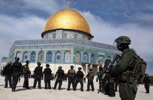 Israeli police at Dome of the Rock on Temple Mount in Jerusalem during clashes with Palestinians