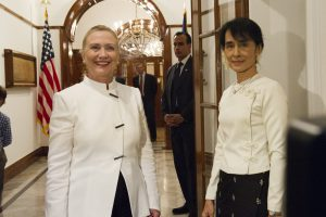 RANGOON, Burma (December 1, 2011) Secretary of State Hillary Clinton meets Daw Aung San Suu Kyi for dinner in Rangoon during her historic visit to Burma. [State Department photo by William Ng]