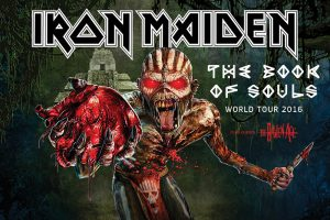 "La locandina ufficiale del tour mondiale di ""The Book of Souls"""