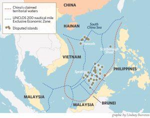 Le isole Spratly rivendicate dalla Cina