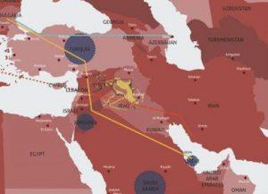 In arancione, il progetto di mega-gasdotto dal Qatar alla Turchia, passando per la Siria, in competizione con quello Iraniano attraverso Iraq e Siria stessa