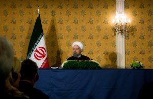 Il Presidente dell'Iran Rohani nella conferenza stampa di Roma che chiude il suo viaggio in Italia. Foto APR