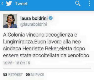 Boldrini tweet Colonia