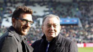 A sinistra Eusebio Di Francesco tecnico neroverde, a destra Giorgio Squinzi, patron del Sassuolo