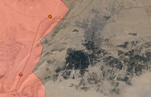 in rosso l'avanzata della coalizione anti terrorismo siriana, in nero le zone ancora occupate dall'Isis