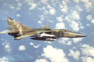 An air-to-air right side view of a Soviet MiG-23 Flogger aircraft. Exact Date Shot Unknown