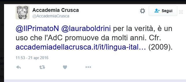 Scambio di tweet tra noi e l'Accademia della Crusca