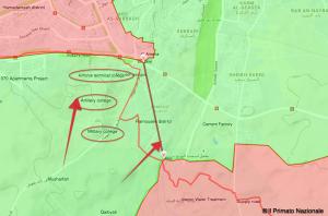 la cartina con le direttrici dell' attacco islamista che ha rotto l'assedio di Aleppo