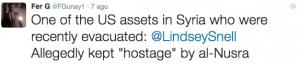 """la giornalista Lindsey Snell """"prigioniera"""" di Al Nusra"""
