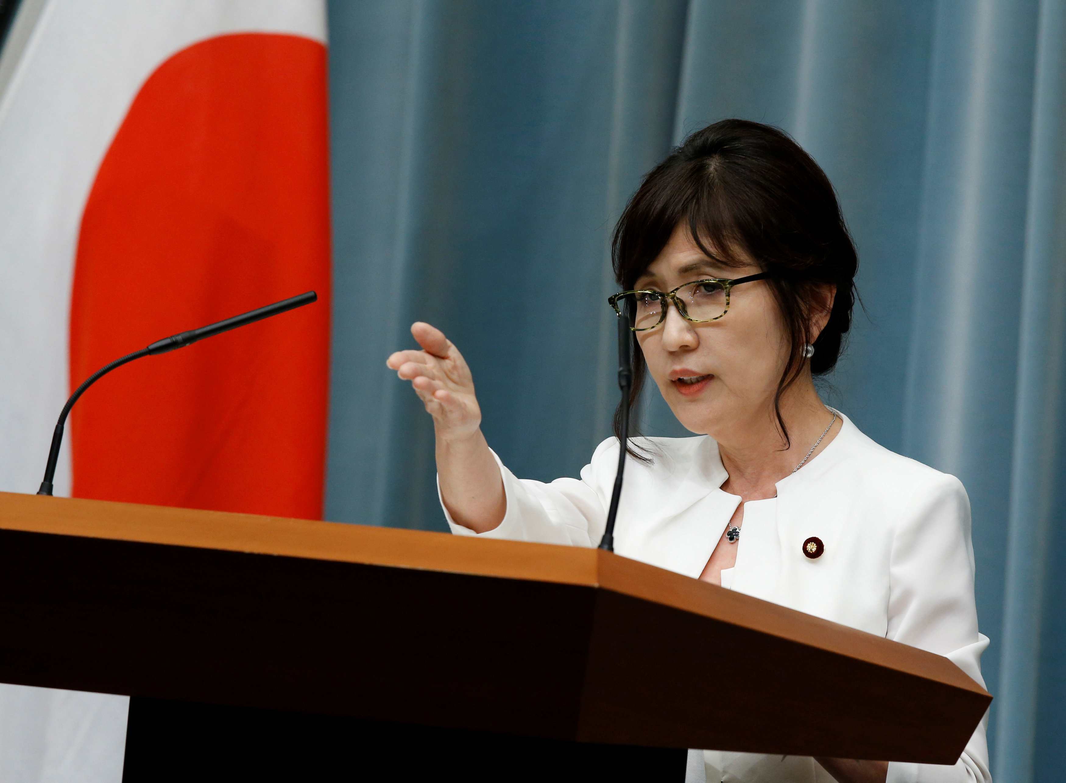 Japan's Defense Minister Tomomi Inada speaks at a news conference at Prime Minister Shinzo Abe's official residence in Tokyo, Japan, August 3, 2016. REUTERS/Kim Kyung-Hoon