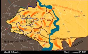 Mappa dell'attacco su Manbij