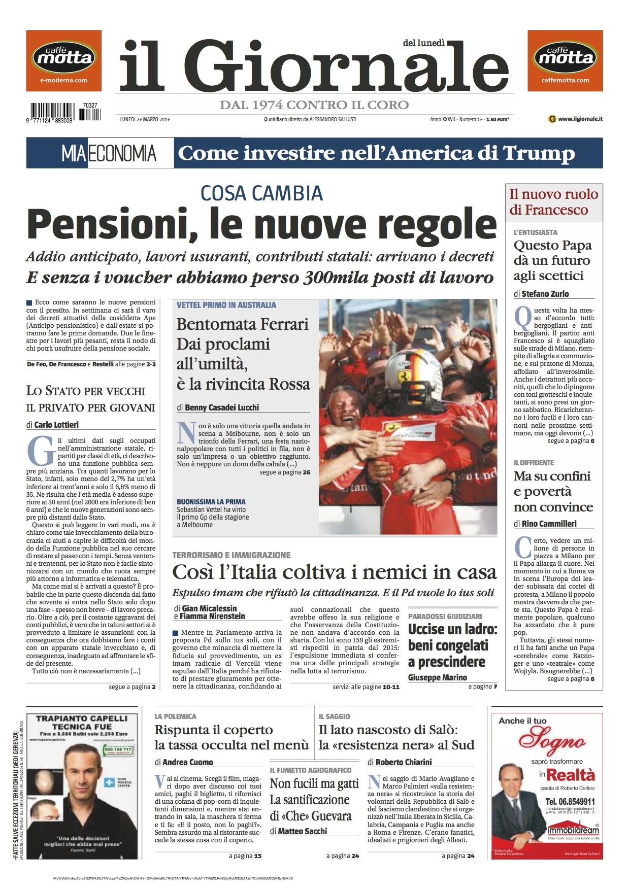 Cosa dicono i giornali di oggi le prime pagine dei for Resoconto tratto da articoli di giornali