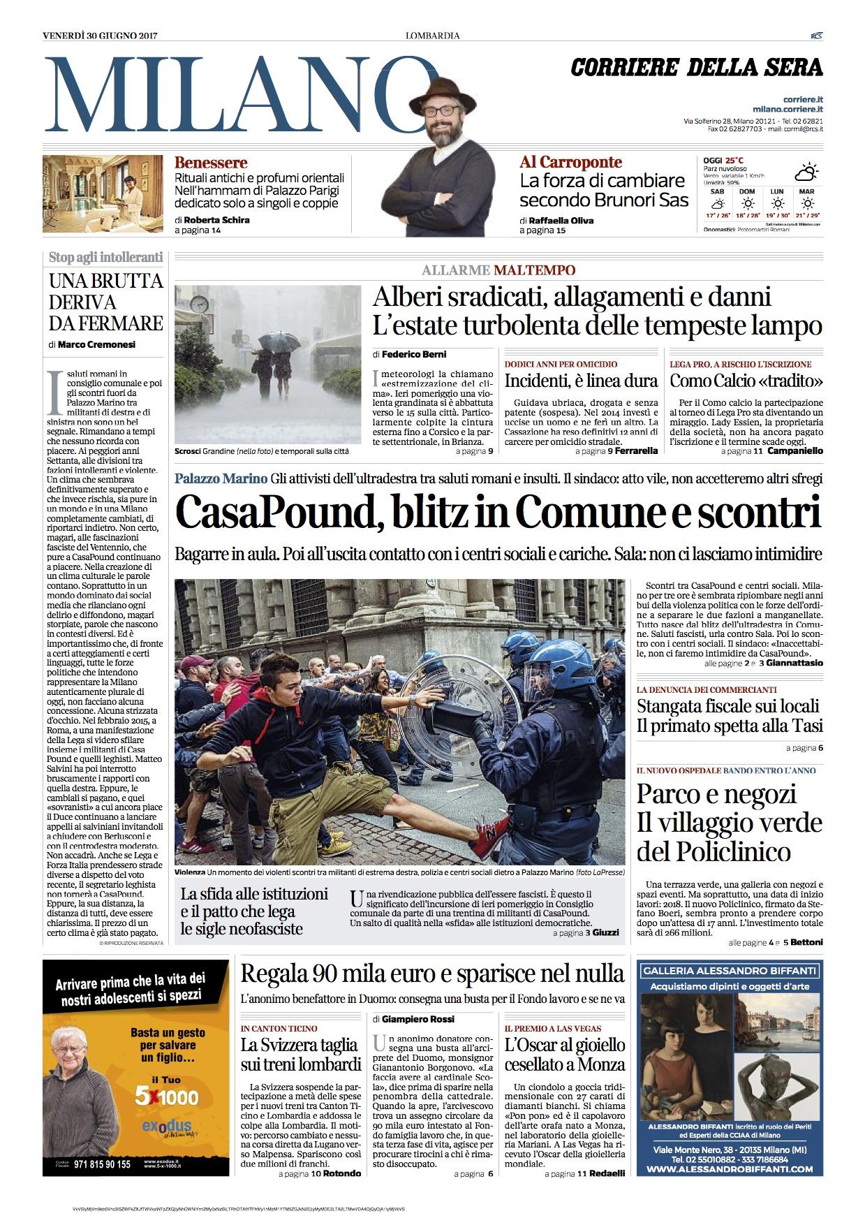 Il blitz di casapound a milano visto dai giornali in edicola for Giornali arredamento casa