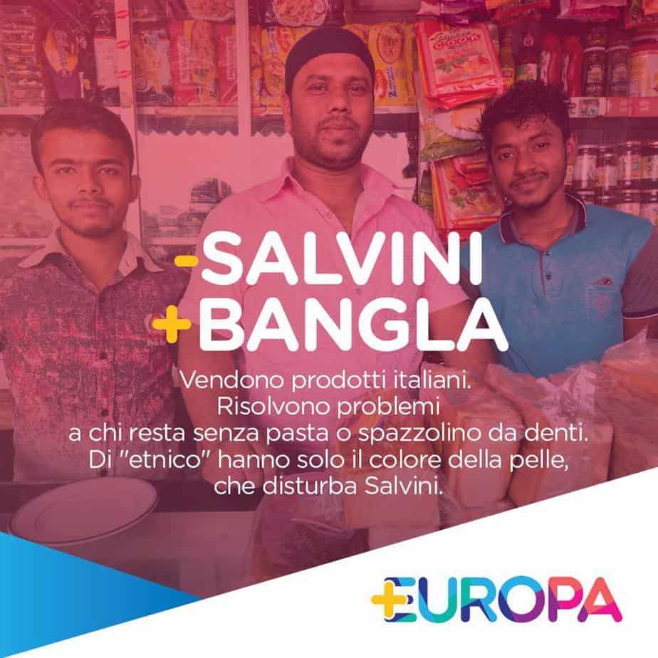 meno salvini più bangla + Europa