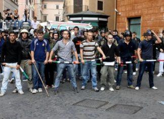 scontri piazza Navona Blocco Studentesco