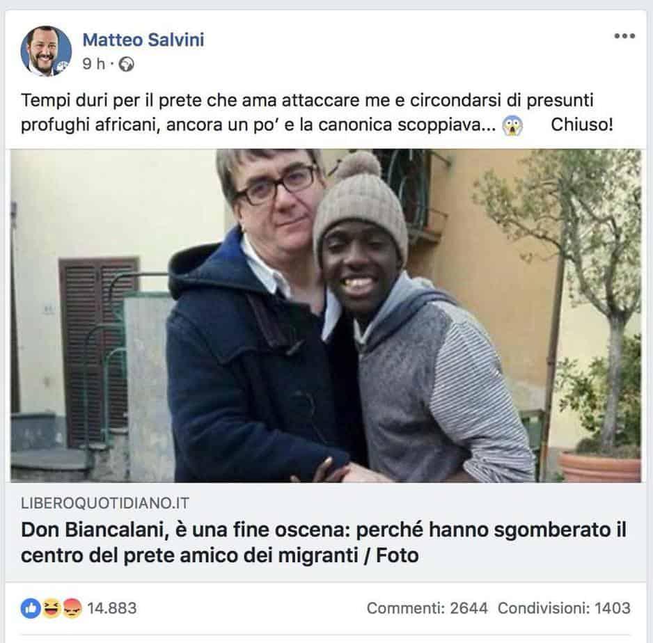 post twitter Salvini Biancalani