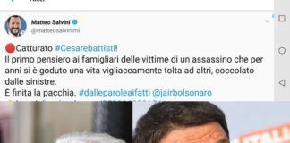 Matteo Salvini su Twitter, Mattarella e Renzi su arresto Battisti