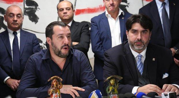 il neogovernatore della Sardegna Solinas con Salvini