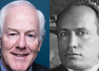 Il senatore Usa John Cornyn e Benito Mussolini