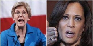 Le senatrici del Partito democratico Usa Elizabeth Warren e Kamala Harris