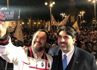 Il neo governatore della Sardegna Solinas con il leader della Lega Salvini