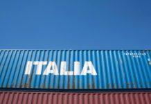Container con scritto Italia, simbolo dell'import-export italiano