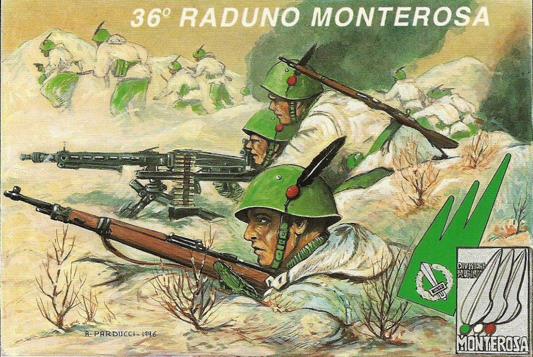 Manifesto riguardante gli alpini della divisione Monterosa
