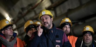 Il vicepremier Matteo Salvini sul cantiere della Tav