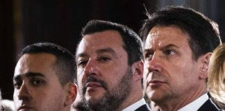 Il vicepremier Di Maio, il vicepremier Salvini e il premier Conte