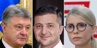 I candidati Zelenskiy, Poroshenko e Tymoshenko