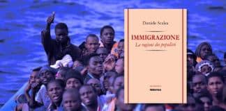 Immigrati su un barcone e copertina del libro