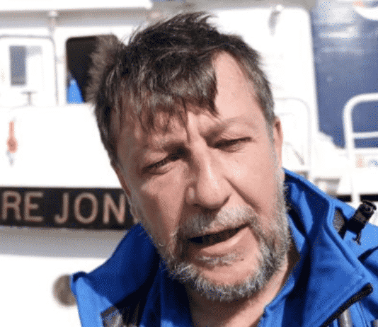 Luca Casarini a bordo della Mare Jonio