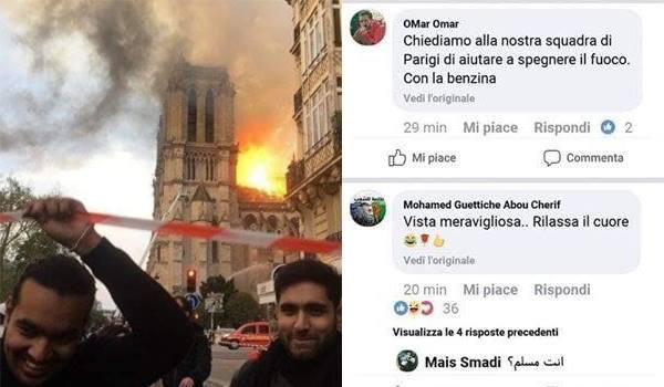 L'esultanza per il rogo di Notre Dame