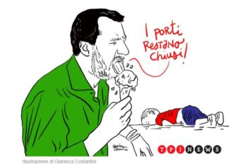 Illustrazione con Salvini che mangia un gelato e sullo sfondo un bambino morto