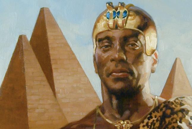 Illustrazione immaginaria di un Tutankhamon subsahariano