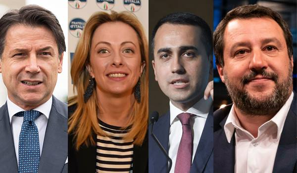 Conte, Meloni, Di Maio e Salvini