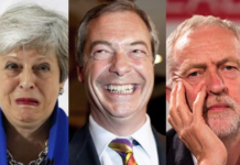 Farage May Corbyn