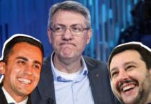Il segretario della Cgil Landini con Di Maio e Salvini