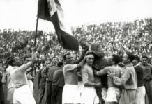 Gli azzurri festeggiano la vittoria dei mondiali del 1934