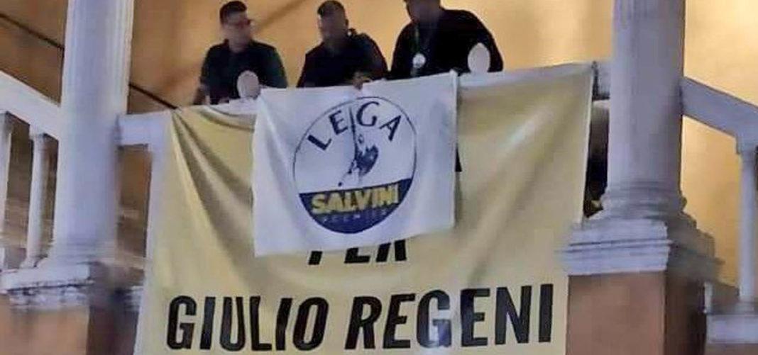 Ferrara, bandiera della Lega su striscione per Regeni. Pd Gesto cattivo