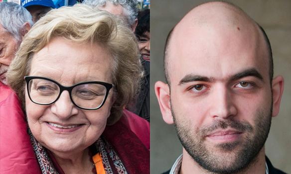 La presidente dell'Anpi Carla Nespolo e lo scrittore Roberto Saviano