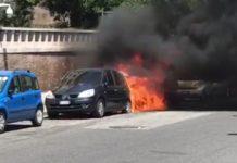 ambasciata emirati, fuoco macchine