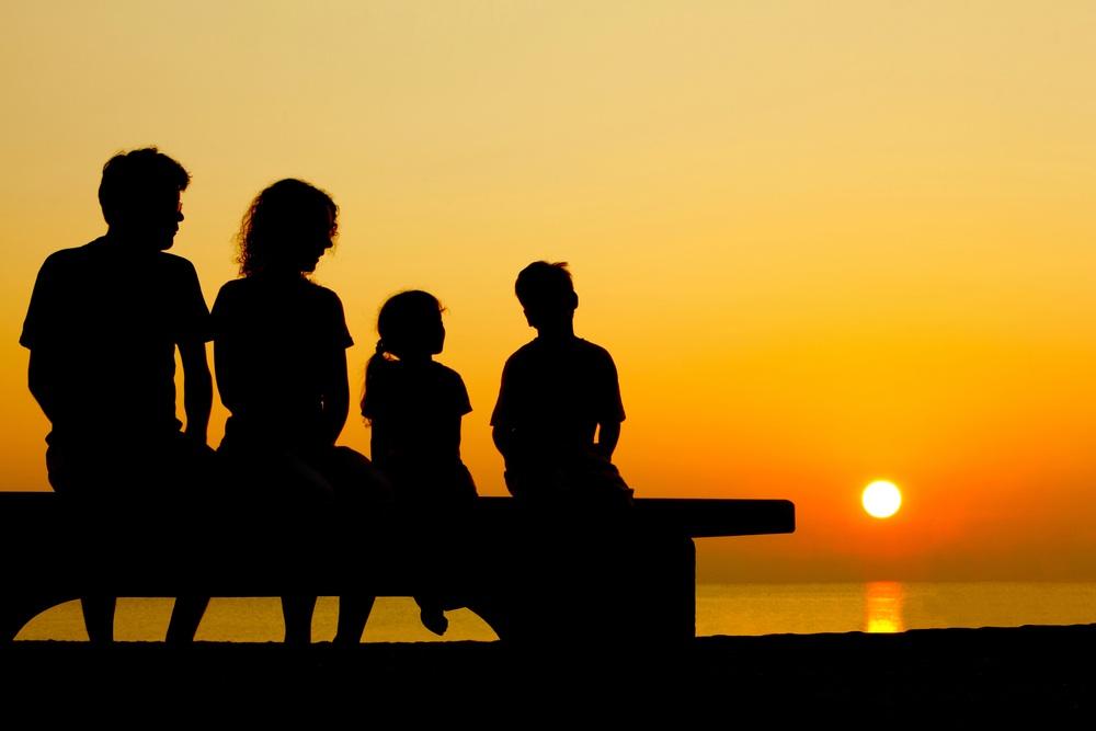 famiglia, tramonto