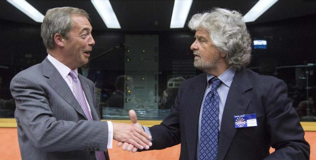 nigel farage con beppe grillo